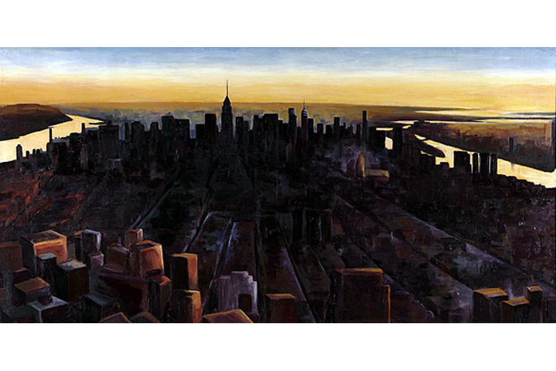 SUNRISE OVER MANHATTAN - oil on canvas  (now only available in print)