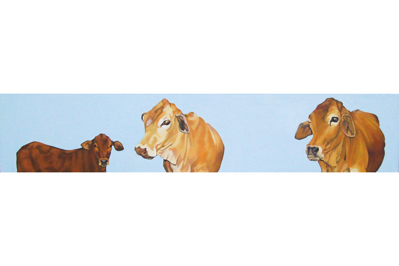 TWO COWS & A CALF - Oil on canvas