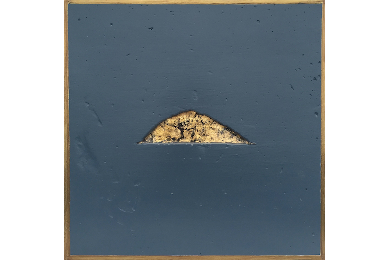 Ailsa Craig - gold leaf on canvas set in resin and plaster