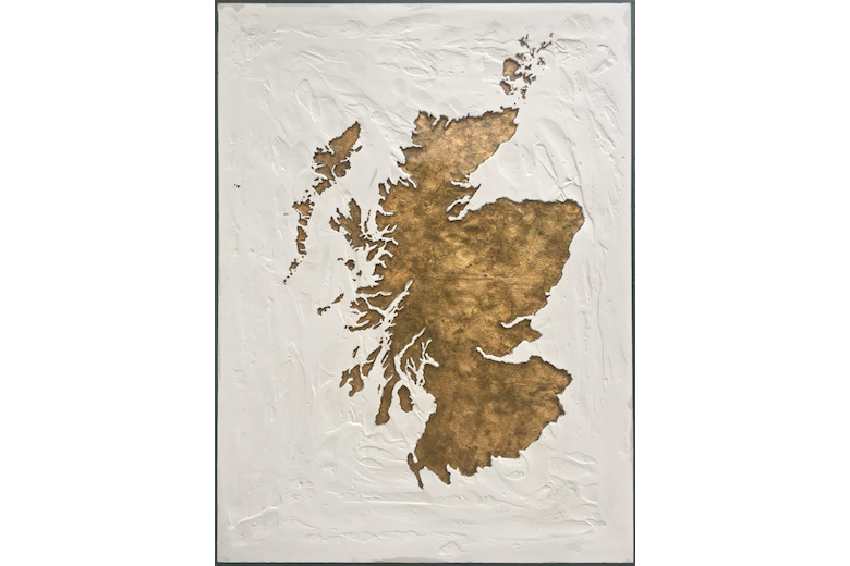 Scotland Map - gold leaf on canvas set in resin and plaster